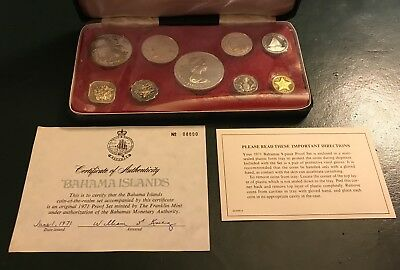 1971 Bahama Islands Proof Set Franklin Mint 4 Silver Coins Red Box COA