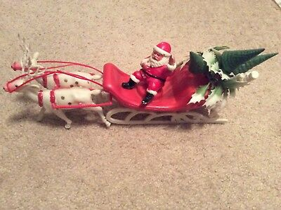 Vintage Plastic Santa Claus in Sleigh with holly pulled by 2 Reindeer 11 inch