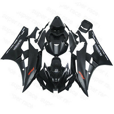 """ABS Fairing Bodywork Injection Kits For 06-07 Yamaha YZF R6 Black&Red """"R6"""" decal"""