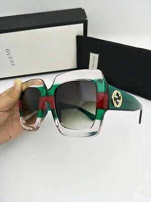 1c1278057e7 New Authentic Gucci Sunglasses GG178S Women s Transparent Green Oversized  Square