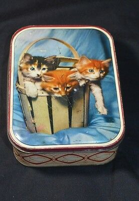 Vintage English Biscuit Tin Kittens In Basket Sharp And Sons