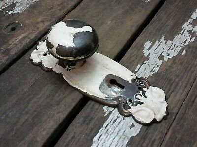 VTG Antique Old Shabby Rustic Door Knob & FANCY Metal Backplate Plate Cover /