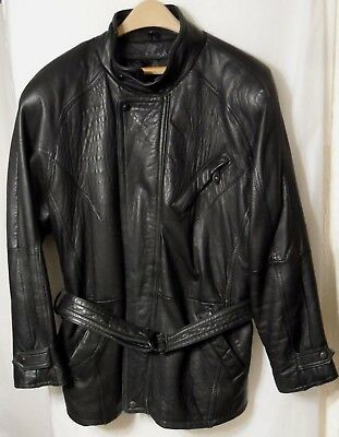 Vintage Pelle Studio mens Motorcycle Leather Jacket Black Size M Medium Belted