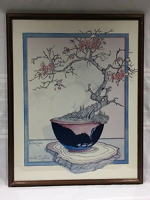 VINTAGE FRAMED, MATTED ARTWORK-JAPANESE CHERRY BLOSSOM BONSAI TREE-23x29.5 INCH