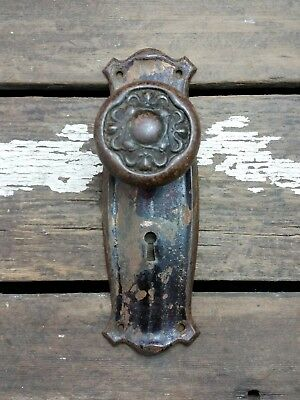 VTG Antique Old Rustic FANCY Door Knob & Metal Shabby 1900s Backplate Cover
