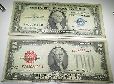 1928 1935 U.S. $2 $1 Two Dollar Bill Notes Antique US Currency Collection Money