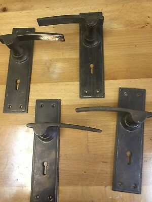 Vintage Bronze Lever Door Handles Set Architectural Antique Old