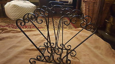 Victorian Black Wrought Iron Magazine Newspaper Rack Vintage Old Retro Stand