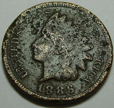 1886 Type 2 US Indian Head Penny Cent Antique Vintage U.S. Currency Money Coin