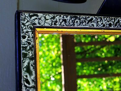 Victorian Antique Wall Mirror Unique Frame Rare Mottled Black White Frame USA
