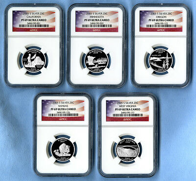 2005 S Silver State Quarters Set NGC PF69 Ultra Cameo (Flag labels)