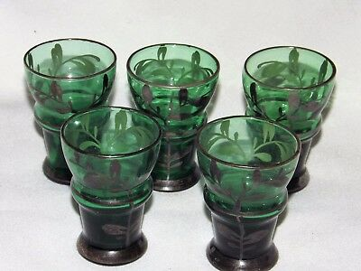 5 Pcs Lot Antique Sterling Silver over Glass Brandy -Shot Glass Set .925 Silver