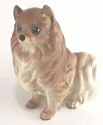 Pomeranian Dog Brown White Chest Sitting Vintage Ceramic Figurine