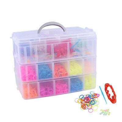 AU 7500pcs Colourful Refill Loom Rubber Bands With Hooks Tool DIY Bracelet w/Box