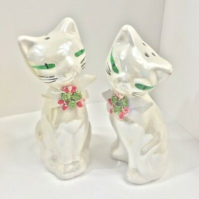 Vintage Siamese Tall Cat Pearly Salt & Pepper Shakers