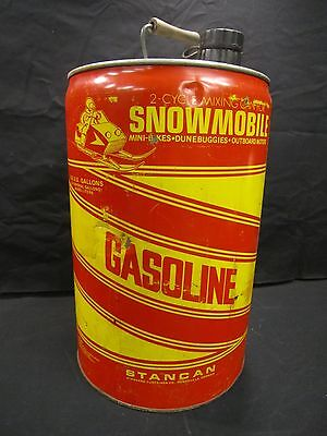 Vintage Snowmobile Stancan 6.5 Gallon Metal Vented 2-Cycle Gasoline Can #5516
