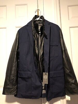 Mens Vince Camuto Leather Trimmed Jacket Medium With Tags MSRP $250