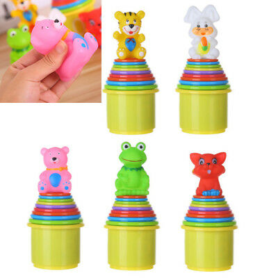 9pc/Set Baby Children Kids Educational Toy Figures Letters Folding Cup Pagoda US