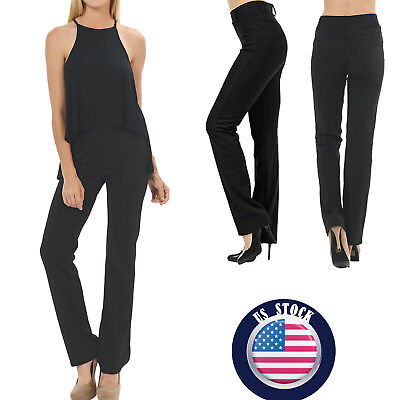 Women Pants Formal Casual Summer High Waist Black Stright Long Loose Trousers US