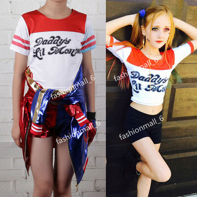 Harley Quinn bambino cappotto giacca maglietta shorts Halloween Cosplay Costume