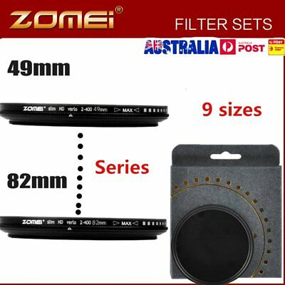 ZOMEI 49/52/55/58/62/67/72/77/82 Series Neutral Density Fader filter ND2-400 AQ
