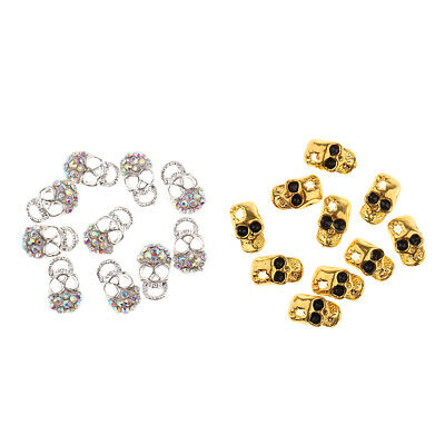 MagiDeal 10x Skull 3D Rhinestone Crystal Nail Art Decoration Tips Stickers