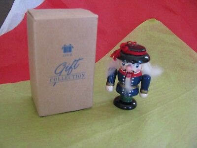 "Vintage Avon Miniature Holiday Wooden Nutcracker Ornament  2.5"" Tall  EUC In Box"