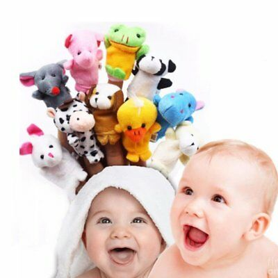 10 PCS Family Finger Puppets Baby Hand Cartoon Cloth Doll Animal Toy Educational