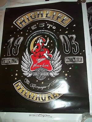 Harley Davidson 18 X 24 Poster From Miller High Life Lady On Moon Sign