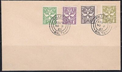 RARE 1967 Malta Postage Dues FDC First Day Cover SG D28/D31 CV£300+ signed Diena
