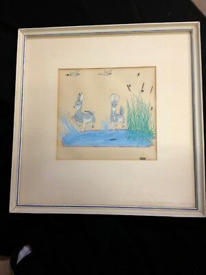 """Quincy Tahoma  1942 """"Young Doe's"""" original painting"""