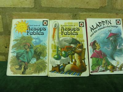 3 Vintage Ladybird book series 740 Aladdin , Aesop's fables book 1 & 2