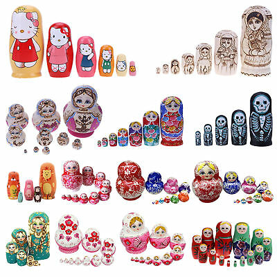 10PCS Wooden Russian Nesting Dolls Matryoshka Doll Hand Painted Toys Gifts Craft