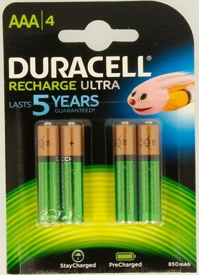 """NEW DURACELL AAA SIZE 4 PACK RECHARGEABLE 850 mAh BATTERIES """"DURHR03B4-850STC"""""""