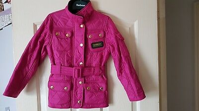 Barbour International Polarquilt Kids Size 4-5 Years Pink New.