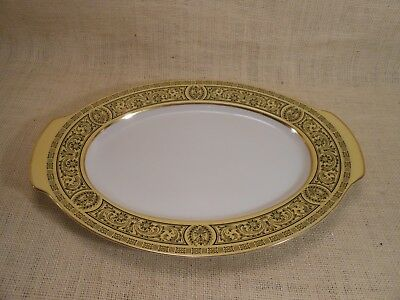 Vintage Golden Damask Fine China 3549 Yellow and Black Serving Platter Gold Trim