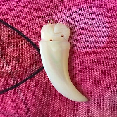 Vintage Antique Carved Mother Of Pearl Elephant Tooth Charm Pendant Estate Find