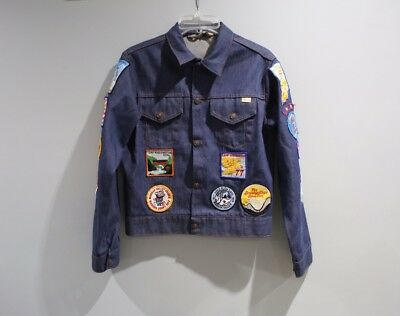 Vintage Jean Denim Jacket With Patches Boy Scouts 70s 80s Boys Size XL  A