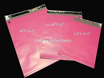 18 Pink Poly Bag Shipping Envelope 3 Size Variety ~ Self-Sealing Postal Mailers