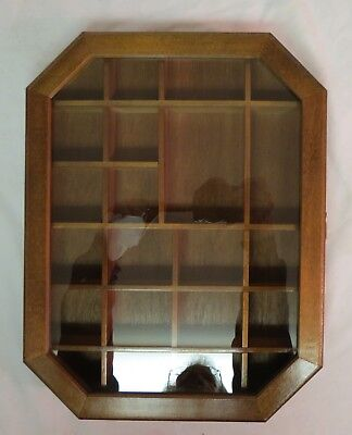 Vintage Home  Wall Mount Curio Wood Display Cabinet 21 Openings