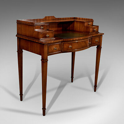 Writing Desk, Antique Sheraton Taste, Mahogany, Leather Top, Table, Bureau C20th