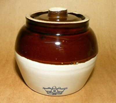 Robinson Ransbottom Vintage Stoneware Blue Crown #2 Crock Bean Pot With Lid