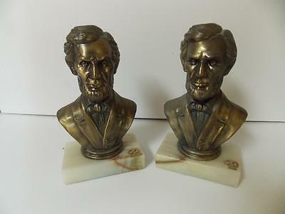 Pair Of Vintage Metal Bookends..onyx New Diamond Base..abraham Lincoln