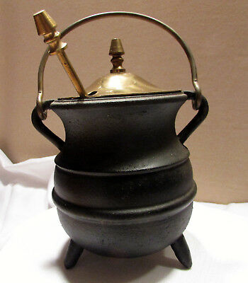 Cast Iron 3 legged Fire starter smudge pot with brass cover made in Japan