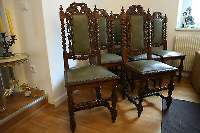 6er set orig jugendstil st hle mit lederbezug eur 580 00 picclick de. Black Bedroom Furniture Sets. Home Design Ideas