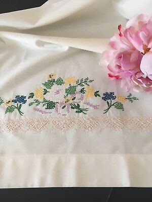 Vintage Eggshell White Cotton Cross Stitch Pillowcase Pair