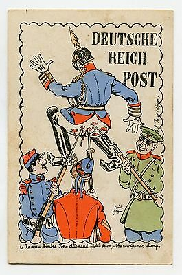 WW1 . Caricature Satire . DEUTSCHE REICH POST  .GUILLAUME II. KAISER. WILHELM II