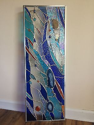 Stained Glass  Window Brazilian Agates Suncatcher Ocean Panel Divider Transom