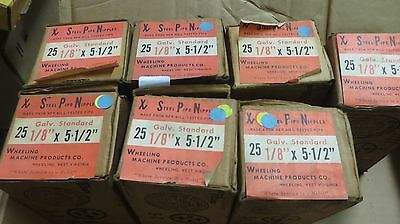 175 Pcs. 1/8X5-1/2 NPT Galv Standard Steel Pipe Nipples 7 Boxes New old Stock