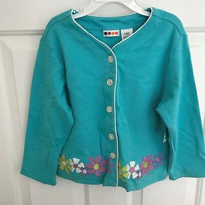 Gymboree girls Blue with flowers button front size large 5 years